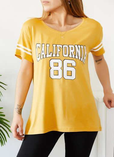 XHAN California Baskılı Tişört 0Yxk1-43717-50 Hardal